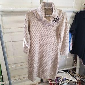 Calvin Klein Med Buckled Cowl Neck Sweater Dress